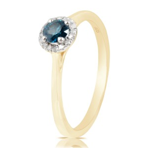 0.37 Ctw Classic Round Diamond Engagement Ring w/ 0.30 Carat Blue Diamond - Handcrafted By Name My Rings™