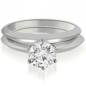 1.00 cttw. White Gold Knife Edge Round Cut Solitaire Bridal Set - Handcrafted By Name My Rings™