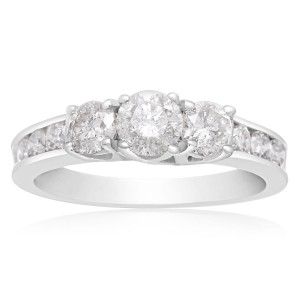 White Gold 1 Carat TDW Three Stone Diamond Engagement Ring - Handcrafted By Name My Rings™