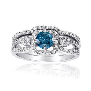 Gold 1ct TDW Blue and White Diamond Bridal Ring Set - Handcrafted By Name My Rings™