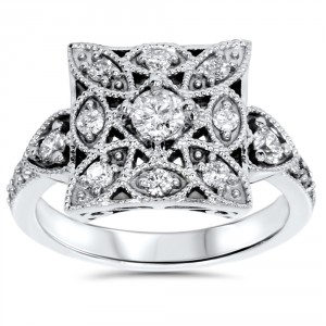 White Gold 1/ 2ct TDW Diamond Vintage Square Ring - Handcrafted By Name My Rings™