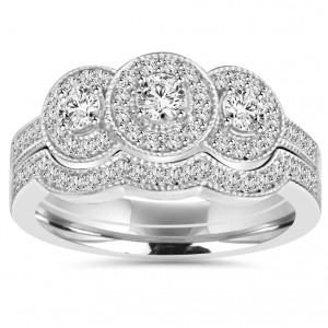 White Gold 1 ct TDW 3-stone Diamond Vintage Engagement Wedding Ring Set - Handcrafted By Name My Rings™