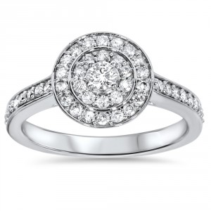 White Gold 1/2 ct TDW Diamond Double Halo Engagement Ring - Handcrafted By Name My Rings™