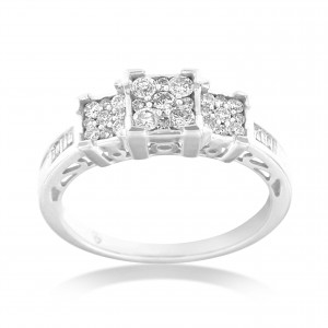 White Gold 1/2ct TDW Round and Baguette Diamond Ring - Handcrafted By Name My Rings™