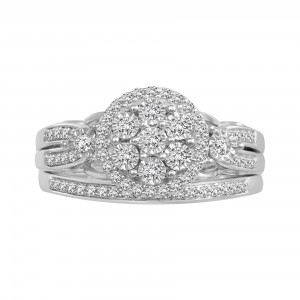 White Gold 3/8ct TDW Diamond Bridal Set - Handcrafted By Name My Rings™
