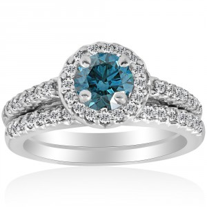 White Gold 7/8ct Round Halo Blue Diamond Engagement Matching Ring Wedding Band Set - Handcrafted By Name My Rings™