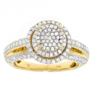 Gold 1ct TDW Diamond Halo Engagement Ring - Handcrafted By Name My Rings™
