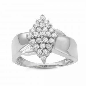 1/2CTTW Marquise-shaped Diamond Cluster Warerfall Ring in Sterling Silver - Handcrafted By Name My Rings™