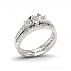 1/2ct TDW Diamond Three Stone Bridal Set in Sterling Silver - Handcrafted By Name My Rings™