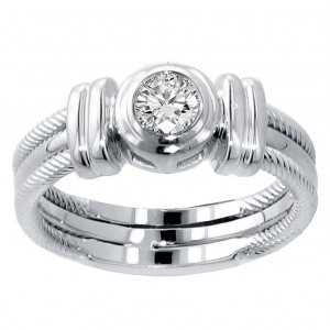 14k/ White Gold 1/4ct TDW Bezel Set Diamond Anniversary Wedding Ring - Handcrafted By Name My Rings™