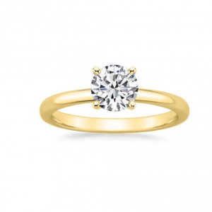Gold 7/8ct TDW GIA Certified Round-cut Diamond Engagement Ring - Handcrafted By Name My Rings™