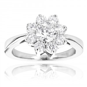 Gold Unique Flower 1.2ct Diamond TDW Engagement Ring - Handcrafted By Name My Rings™
