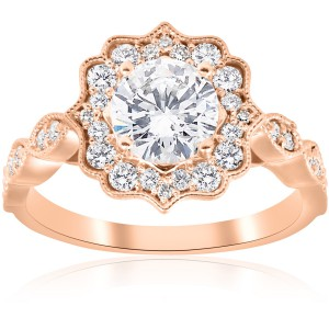 Rose Gold 1 3/8 ct TDW Diamond Clarity Enhanced Vintage Halo Engagement Ring - Handcrafted By Name My Rings™