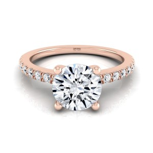 Rose Gold 3/4ct TDW White Diamond Engagement Ring - Handcrafted By Name My Rings™