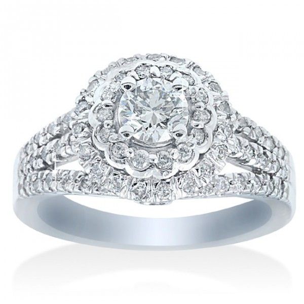 White Gold 1 1/10ct TDW Double Halo Diamond Engagement Ring - Handcrafted By Name My Rings™