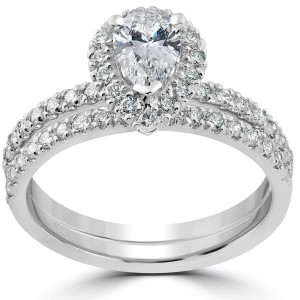 White Gold 1 1/10ct TDW Pear Shape Halo Diamond Engagement Wedding Ring Set - Handcrafted By Name My Rings™