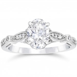 White Gold 1 1/10ct TDW Vintage Oval Diamond Engagement Ring - Handcrafted By Name My Rings™