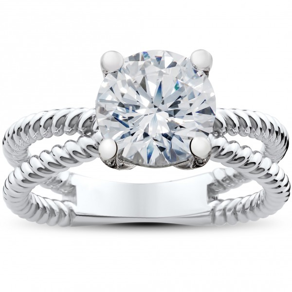 White Gold 1 1/2ct TDW Diamond Clarity Enhanced Solitaire Round Brilliant Cut Braided Engagement Ring - Handcrafted By Name My Rings™