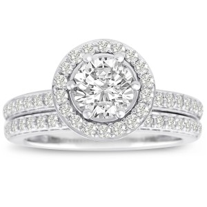 White Gold 1 1/2ct TDW Micro Pave Diamond Bridal Set - Handcrafted By Name My Rings™