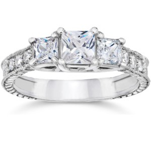White Gold 1 1/2ct TDW Vintage Three Stone Princess Cut Diamond Engagement Ring - Handcrafted By Name My Rings™