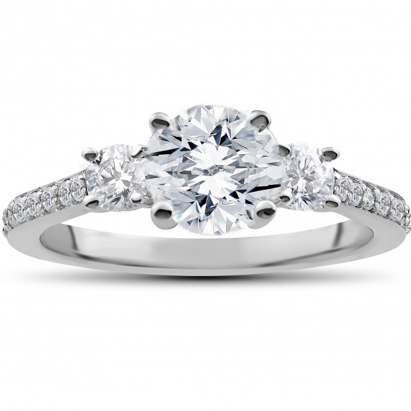 White Gold 1 1/4 ct Round Diamond 3-Stone Lab Grown Eco Friendly Engagement Ring - Handcrafted By Name My Rings™