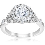 White Gold 1 3/8 ct TDW Diamond Clarity Enhanced Vintage Halo Engagement Ring - Handcrafted By Name My Rings™