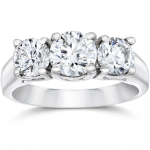 White Gold 1 3/8ct Three Stone Round Cut Lab Grown Diamond Engagement Ring - Handcrafted By Name My Rings™