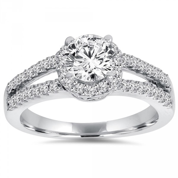 White Gold 1 ct TDW Lab-Grown Diamond Halo Engagement Ring - Handcrafted By Name My Rings™