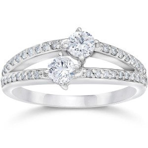 White Gold 1/2ct TDW 2-stone Forever Us Diamond Engagement Ring - Handcrafted By Name My Rings™