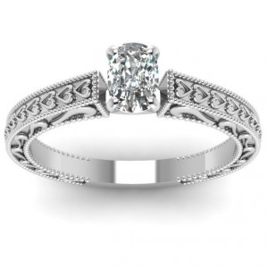White Gold 1/2ct TDW Cushion-cut Diamond Solitaire Ring by Fascinating Diamonds - Handcrafted By Name My Rings™