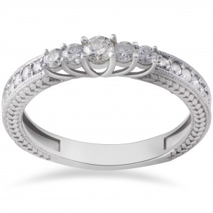 White Gold 1/2ct TDW Vintage Diamond Anniversary Ring - Handcrafted By Name My Rings™