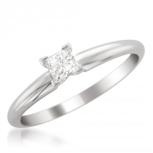 White Gold 1/3ct Princess Solitaire Engagement Ring - Handcrafted By Name My Rings™
