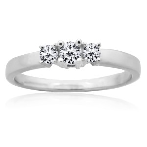 White Gold 1/4ct TDW Round Diamond Prong-set 3-stone Anniversary Ring - Handcrafted By Name My Rings™
