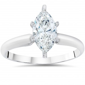 White Gold 1ct TDW Clarity Enhanced Marquise-cut Diamond Solitaire Engagement Ring - Handcrafted By Name My Rings™