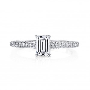 White Gold 1ct TDW Emerald-cut Diamond Engagement Ring - Handcrafted By Name My Rings™