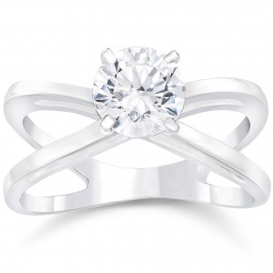 White Gold 1ct TDW Round Cut Clarity Enhanced Diamond Solitaire Engagement Ring - Handcrafted By Name My Rings™
