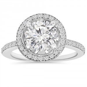 White Gold 2 1/ 8 ct TDW Clarity Enhanced Diamond Round Engagement Wedding Ring - Handcrafted By Name My Rings™