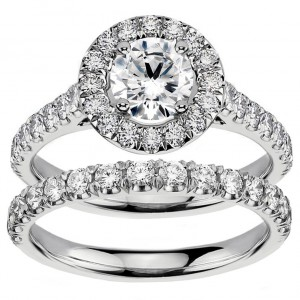 White Gold 2 1/4ct TDW Diamond Engagement Bridal Set - Handcrafted By Name My Rings™