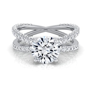 White Gold 2 1/4ct TDW Round Diamond Crossover Shank Engagement Ring - Handcrafted By Name My Rings™