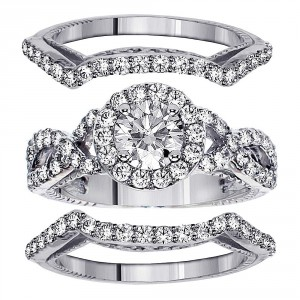 White Gold 2 2/5ct TDW Diamond Halo Bridal Ring Set - Handcrafted By Name My Rings™