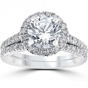 White Gold 2 3/4ct TDW Halo Diamond Clarity Enhanced 2-Piece Engagement Ring Set - Handcrafted By Name My Rings™