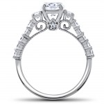 White Gold 2 ct TDW Diamond Clarity Enhanced Vintage Engagement Wedding Ring Set - Handcrafted By Name My Rings™