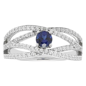 White Gold 2/5ct Diamond and Sapphire Engagement Ring - Handcrafted By Name My Rings™