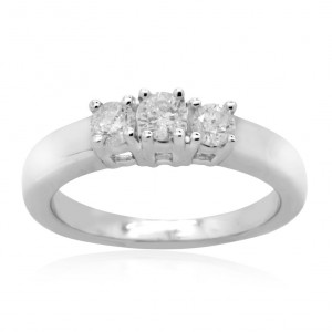 White Gold 3/4ct TDW Round Diamond 3-stone Anniversary Ring - Handcrafted By Name My Rings™