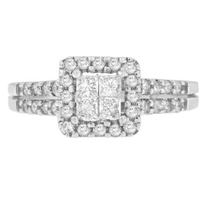 White Gold 3/4ct TDW Round and Princess-cut Diamond Engagement and Wedding Ring - Handcrafted By Name My Rings™