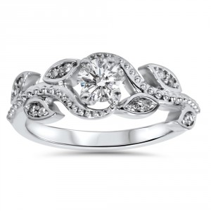 White Gold 3/8ct TDW Vine Petal Vintage Style Diamond Engagement Ring - Handcrafted By Name My Rings™