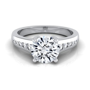 White Gold 5/8ct TDW White Diamond Channel Engagement Ring - Handcrafted By Name My Rings™