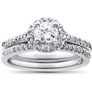 White Gold 7/8ct Round Halo Diamond Engagement Matching Wedding Ring Set - Handcrafted By Name My Rings™