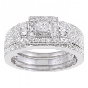 White Gold 7/8ct TDW Diamond Halo Bridal Ring Set - Handcrafted By Name My Rings™
