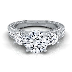 White Gold IGI-certified 1 7/8ct TDW Round 3-Stone Engagement Ring - Handcrafted By Name My Rings™